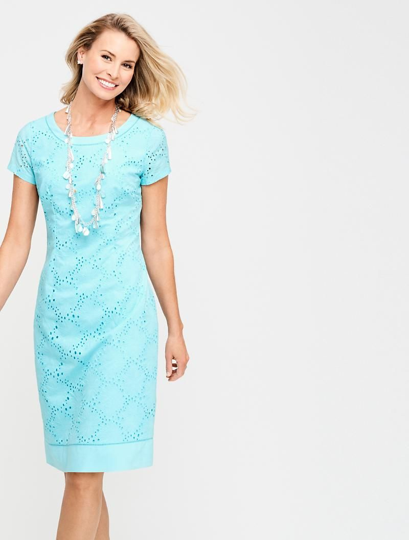 Flower Eyelet Sheath Turquoise Dress Casual Modest Outfits Fashion [ 1057 x 800 Pixel ]