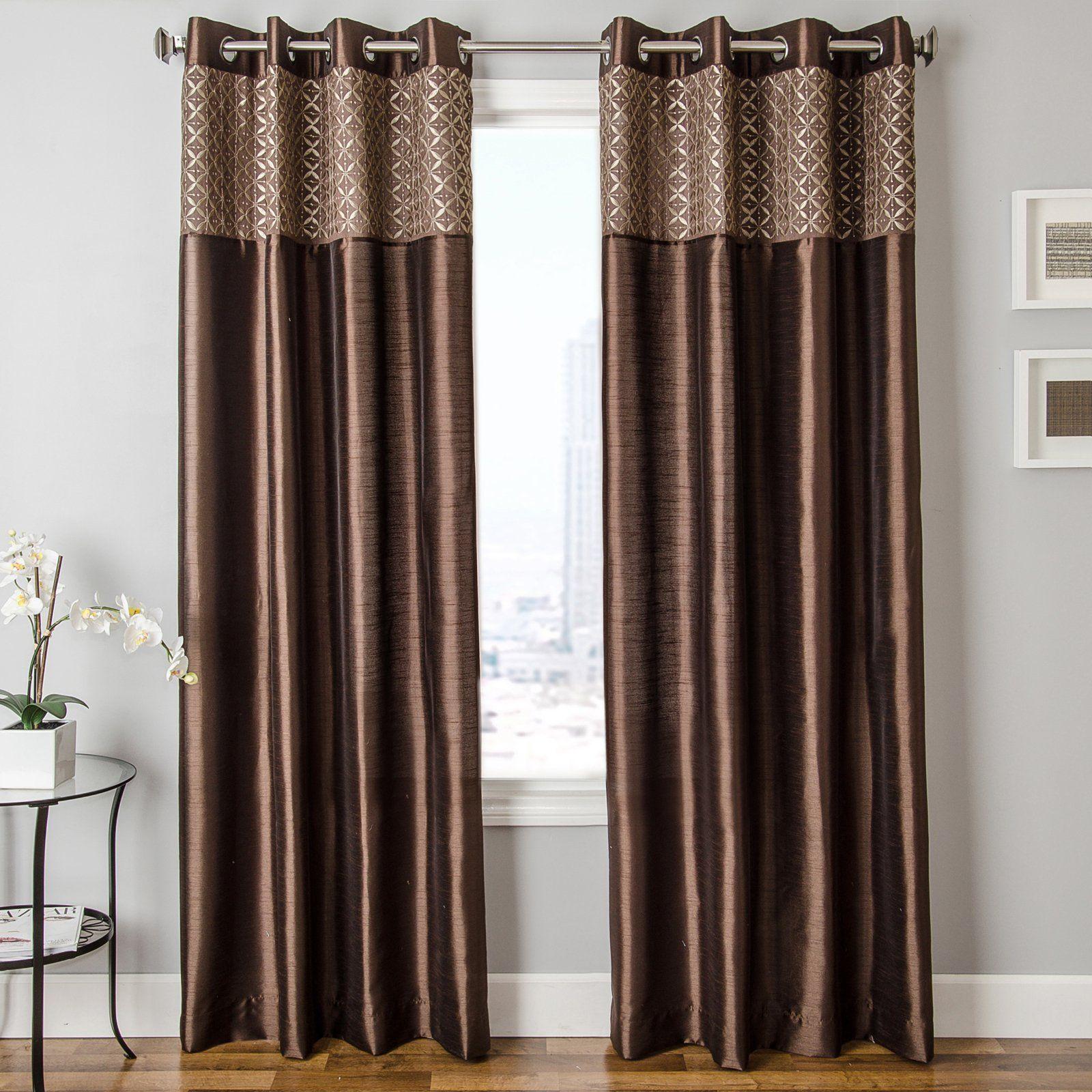 Jana Grommet Curtain Walmart Com Brown Curtains Panel Curtains Curtains