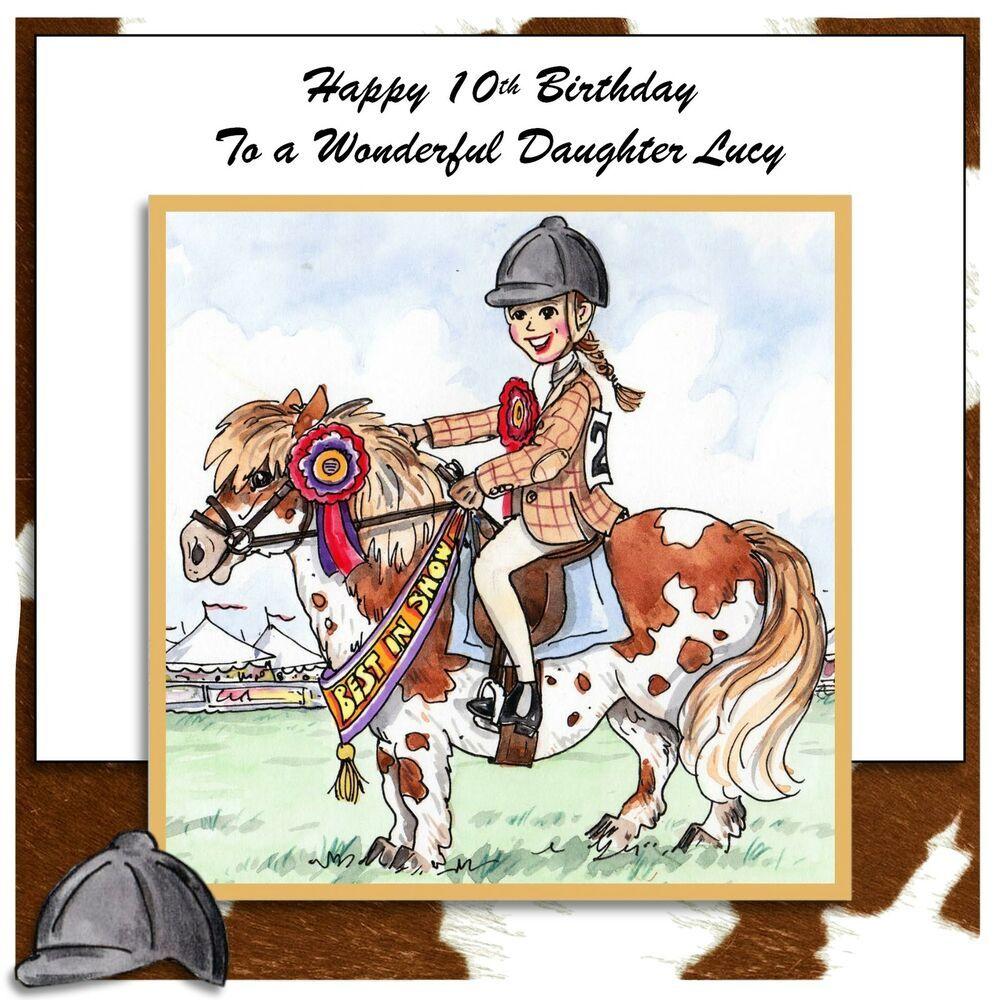 Handmade personalised birthday card any age horse riding