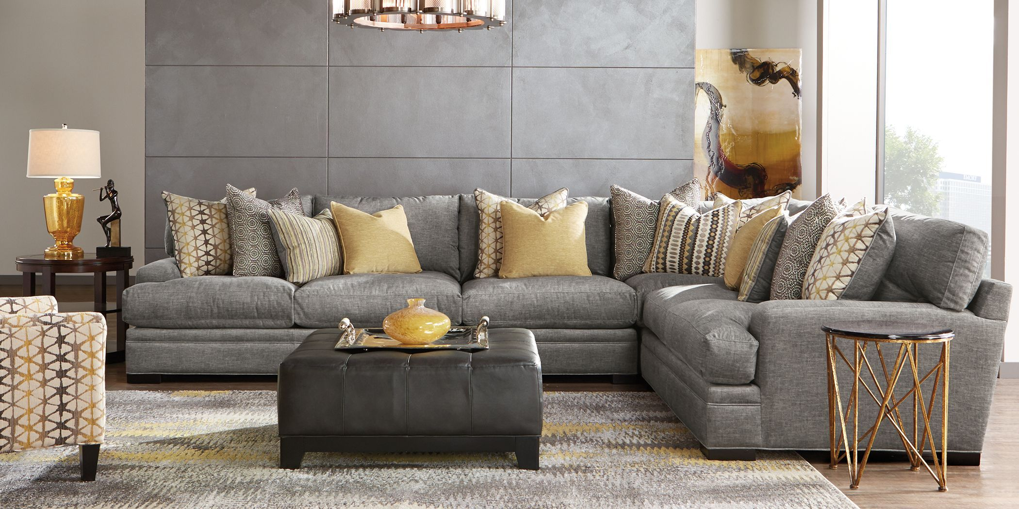 Cindy Crawford Home Palm Springs Gray 4 Pc Sectional Living Room