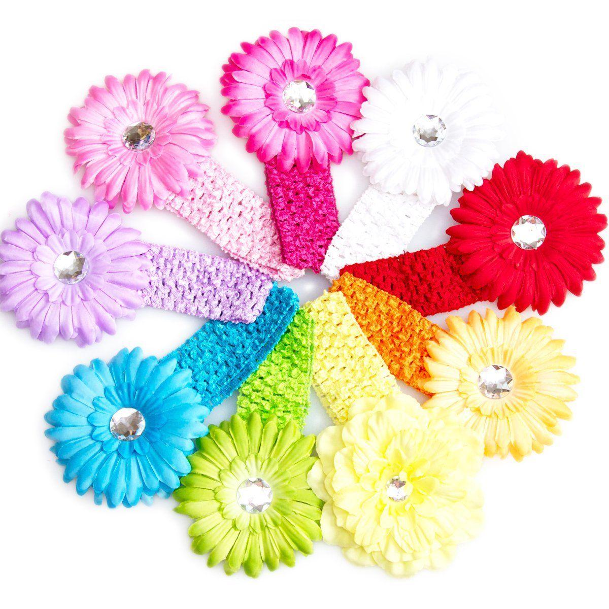 Ema Jane 8 Spring Bling Gerber Daisy Flower Hair Clips With Soft