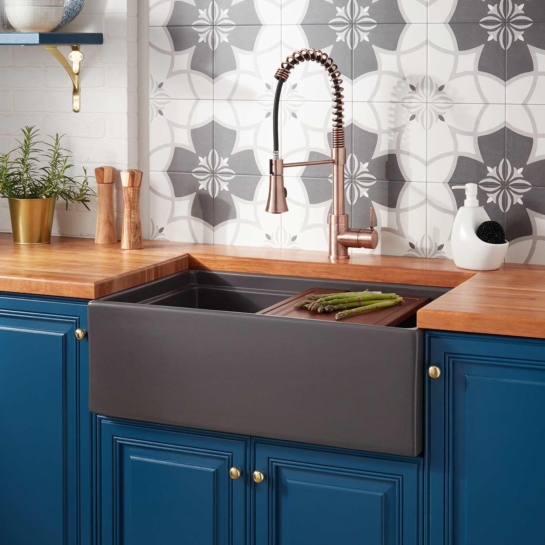 30 Brumfield Fireclay Farmhouse Sink Dark Gray Kitchen With Images Fireclay Farmhouse Sink White Farmhouse Sink Kitchen Sink Design