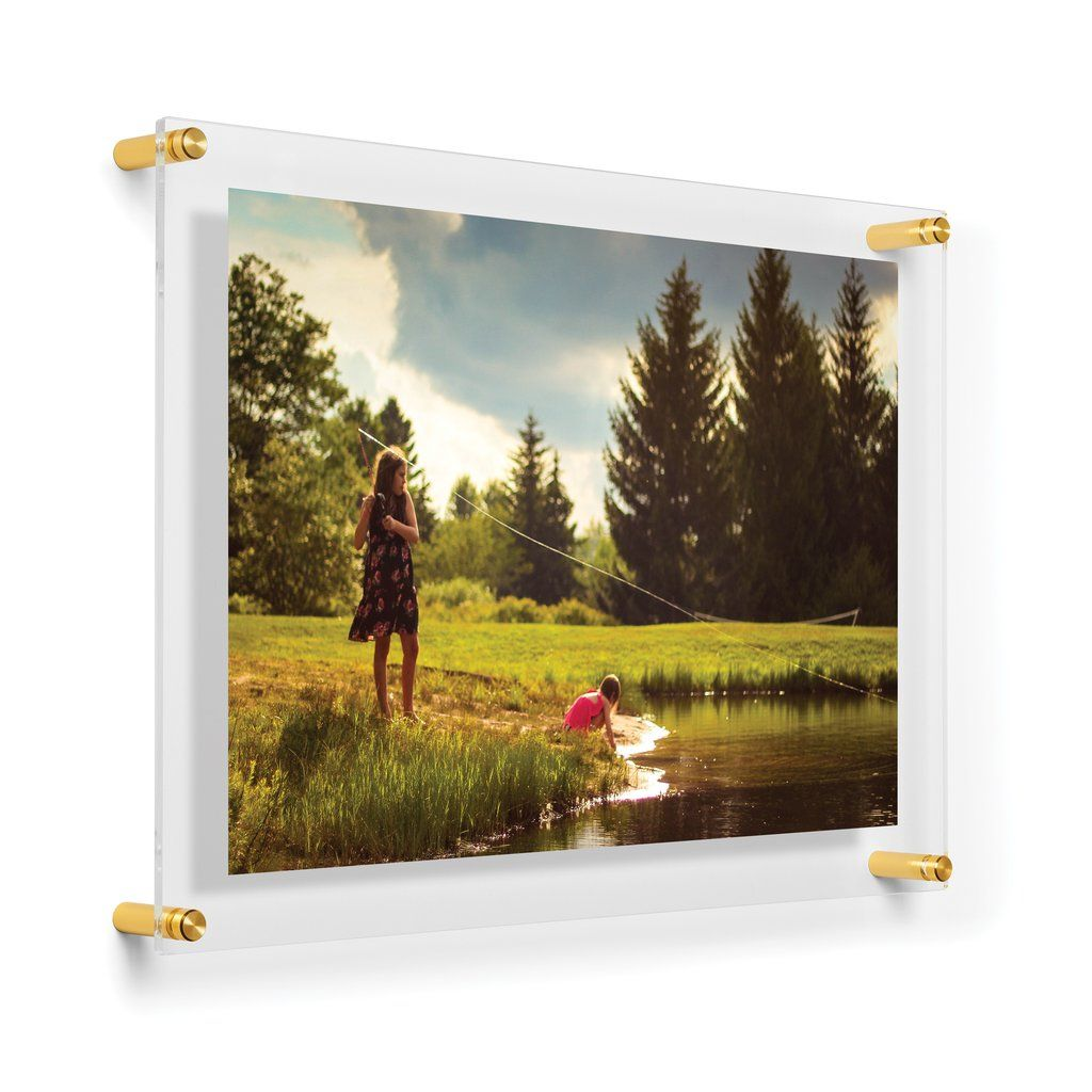 Double Panel Acrylic Floating Frames Choose Your Size Silver Gold In 2020 Gold Picture Frames Floating Frame Glass Picture Frames