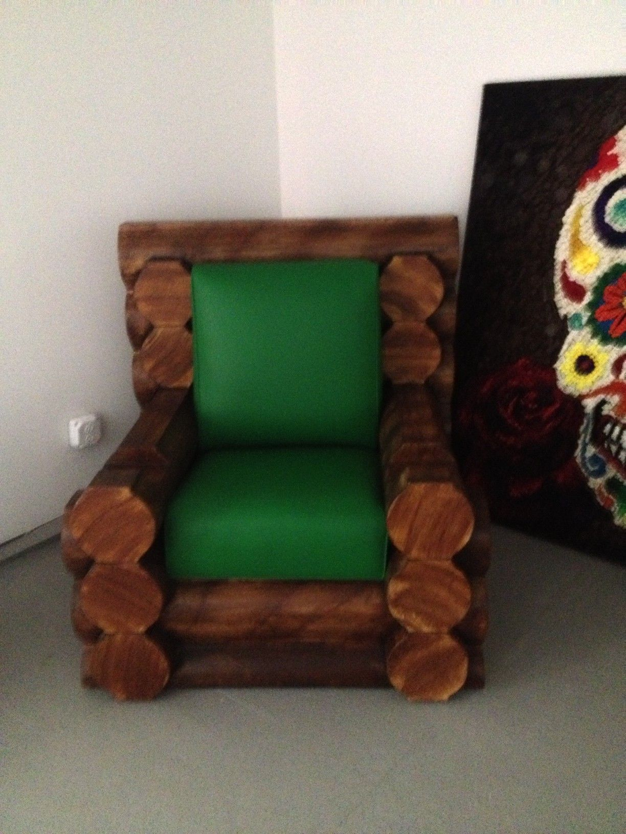 A Real Lincoln Log Chair Custom cushions by Dreams Upholstery