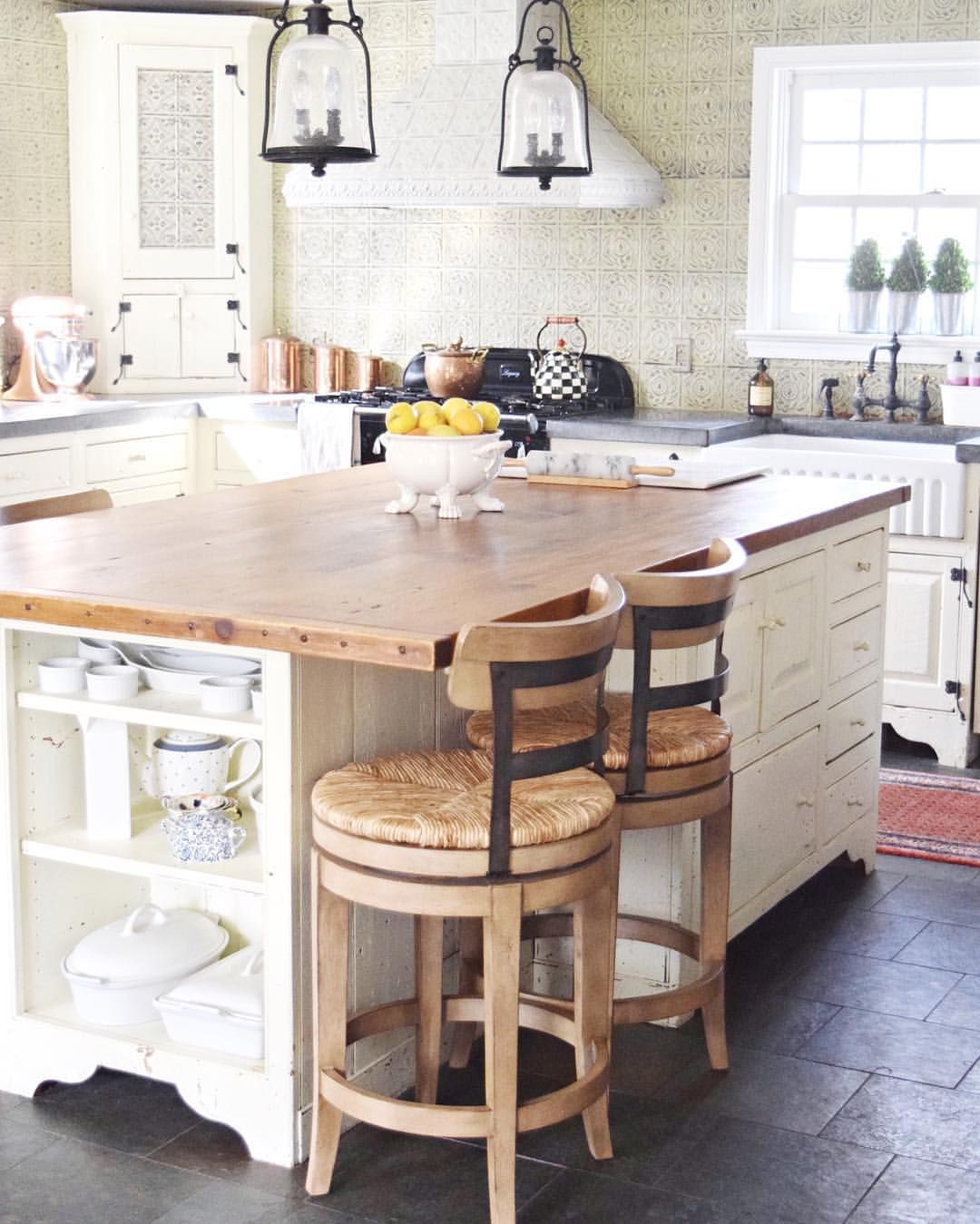 Farmhouse Kitchen With Butcher Block Island And Rustic Counter Stools Stools For Kitchen Island White Kitchen Rustic Farmhouse Kitchen Countertops