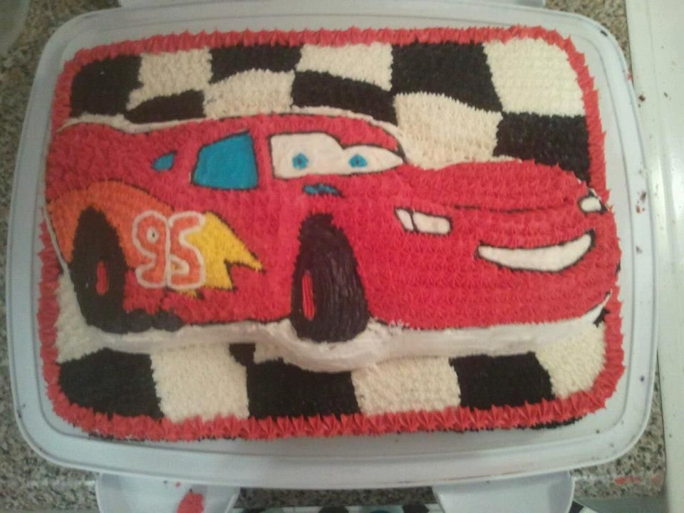 Buttercream Lightning McQueen cake I made for my sons 4th