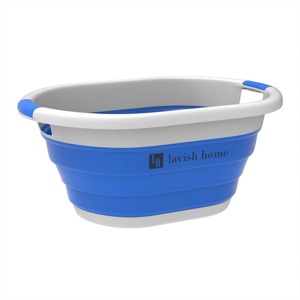 Lavish Home Blue Collapsible Multi Use Laundry Basket With Comfort