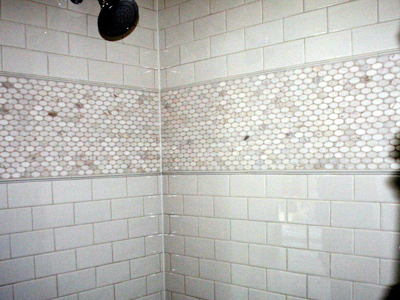 bathrooms with octagon tile | ... White Brick Tile Bathroom Wall ...