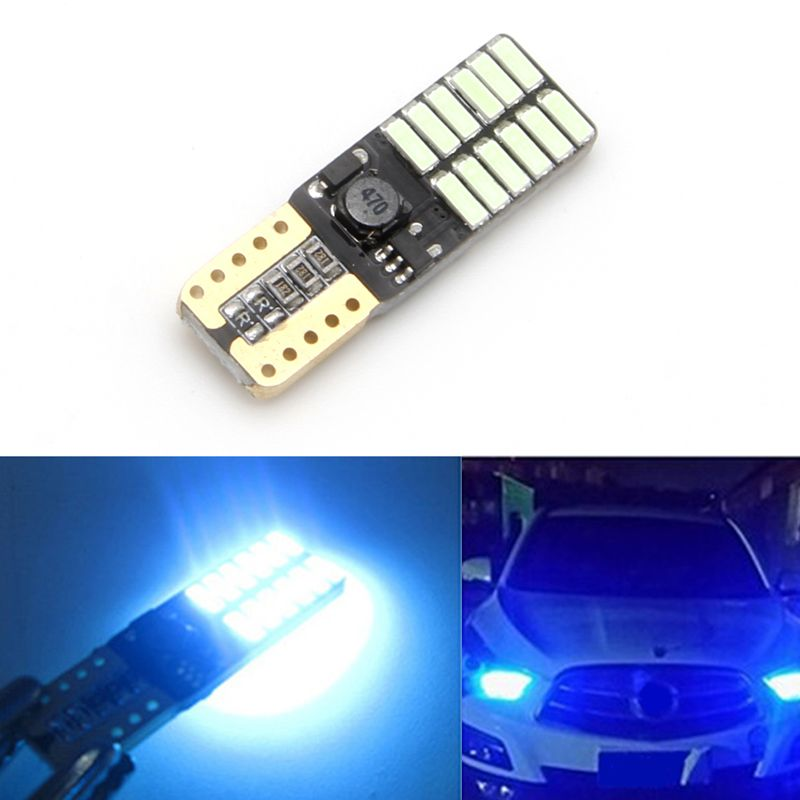 1pc Dc 12v Car Indoor Ice Blue Led Lights T10 4014 Smd 24 Led Car Auto Light Source Bulb Backup Lamp Blue Led Lights Car Lights Led Lights
