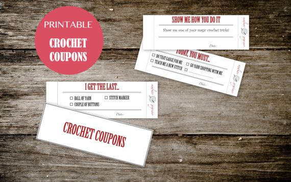 Printable CROCHET Coupon Book - for HIM or for HER - Crochet Coupons for your crocheting buddy - Instant Download