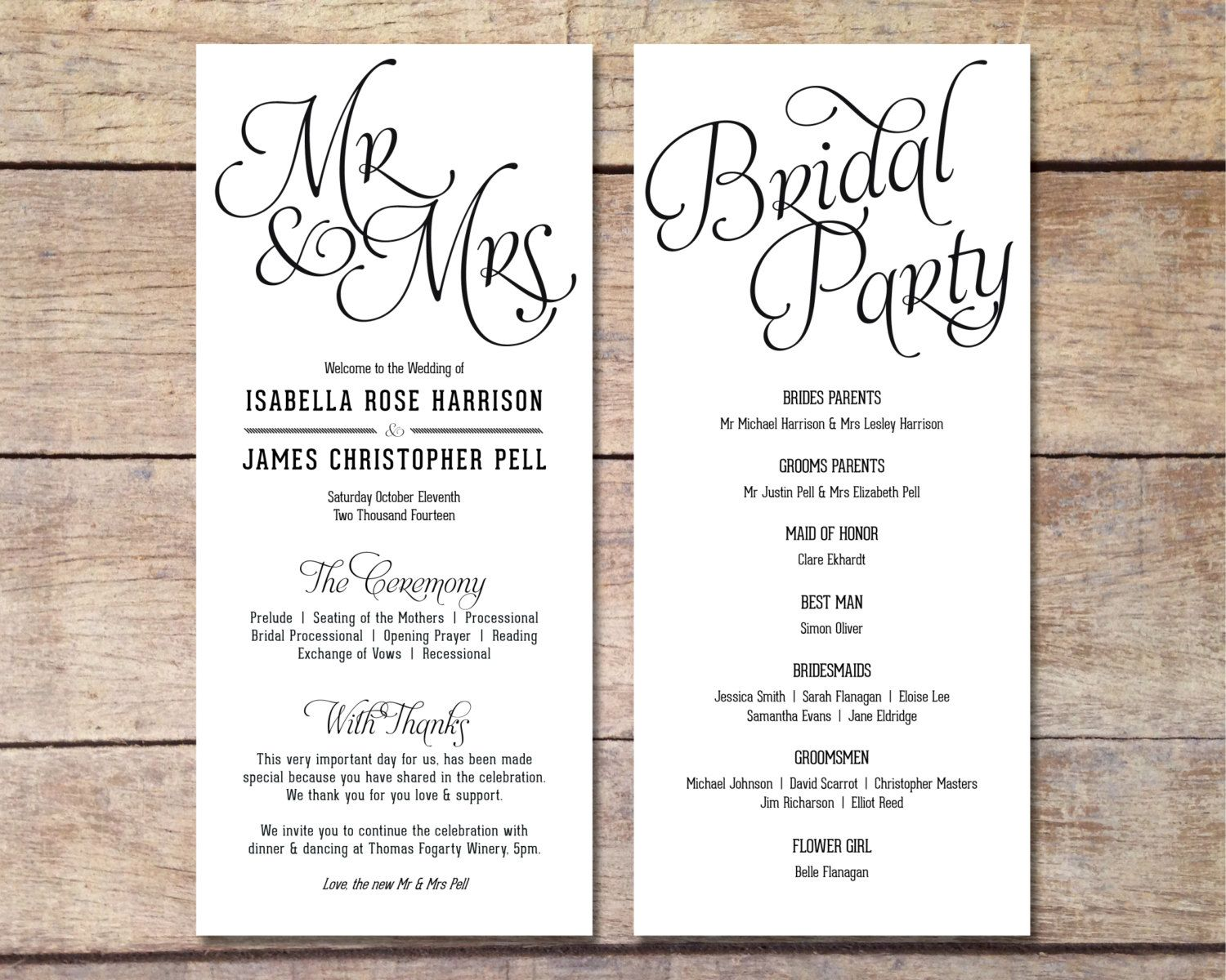 Simple Wedding Program Customizable by PaperRouteCollective ...