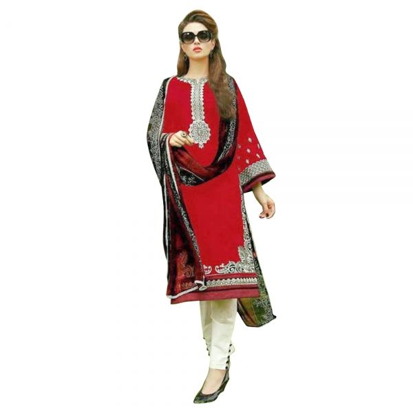 Buy Red Traditional Semi Stitched Straight Cut Salwar Suit Online ...