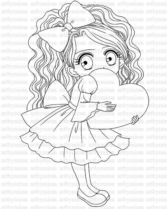Valentine Digital Stamp(#24), Digi Stamp, Cute Girl
