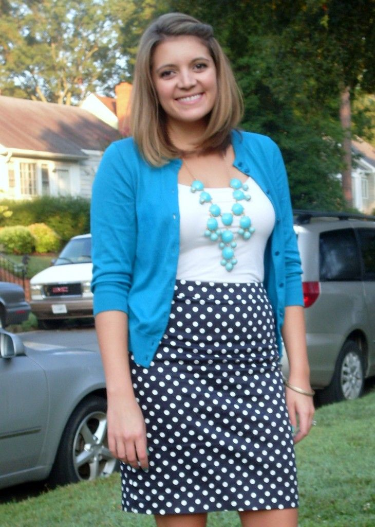 71021c76f8 Shades of blue: navy polka dot pencil skirt, aqua cardigan, blue bubble  necklace - Fizz and Frosting