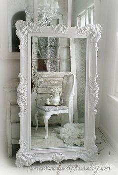 H O L L Y W O O D Vintage Leaning Mirror Floor Mirror Regency Shabby Chic Baroque White Shabby Chic Shabby Chic