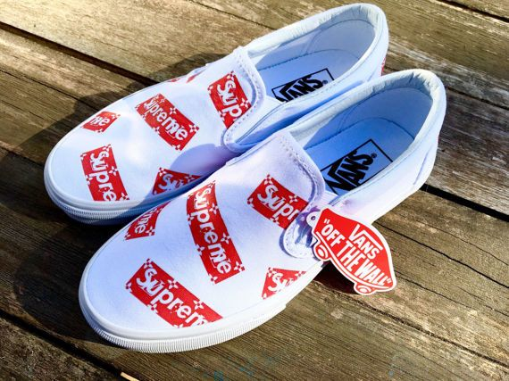 4e8b99072424 SUPREME x LV Slip-On Vans Custom by KixNY on Etsy