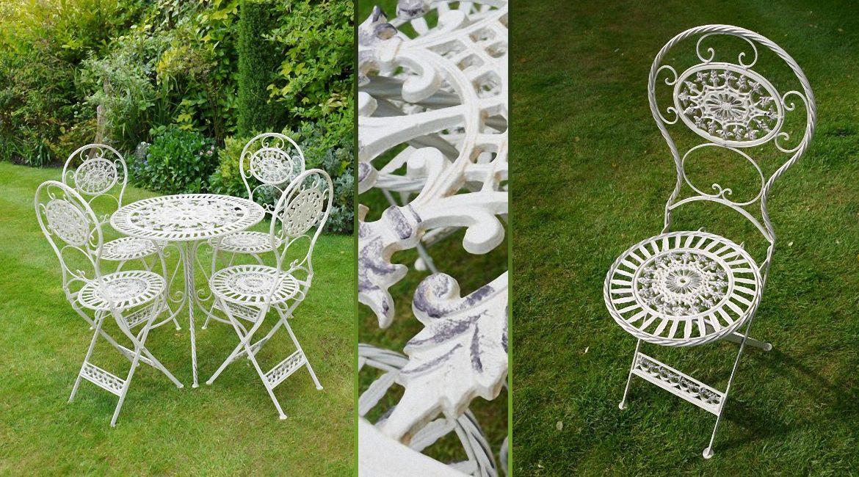 salon de jardin rtro blanc crme antique en fer forg pour 4 personnes - Salon De Jardin Fer