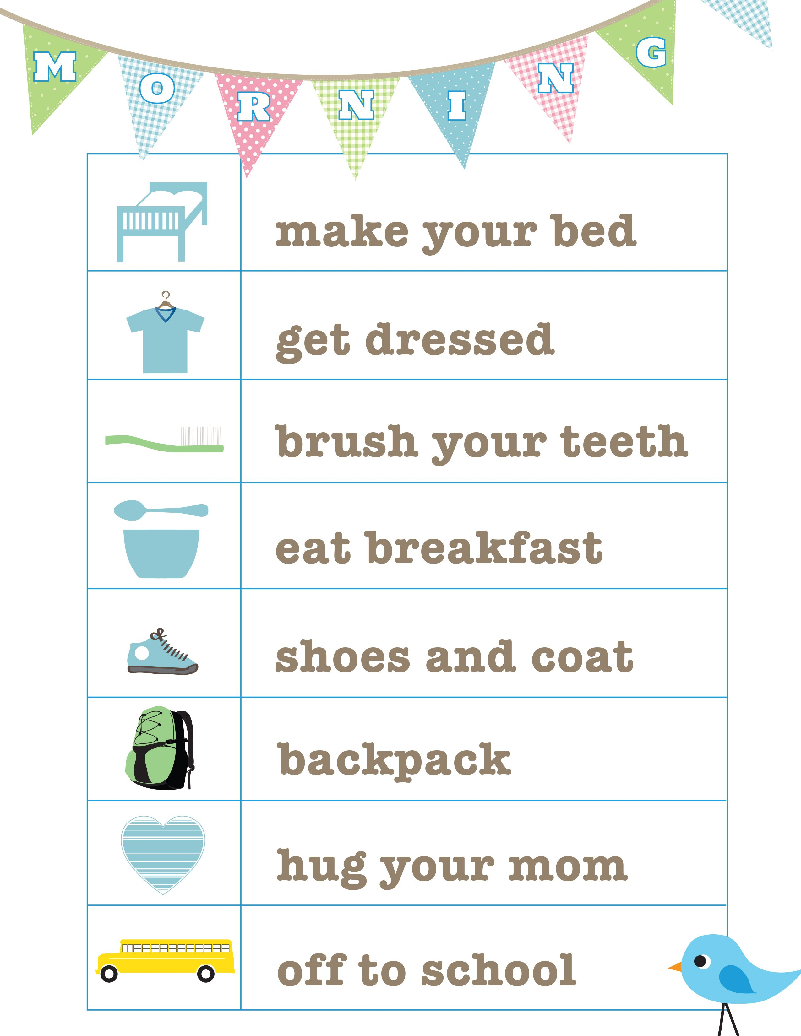Free Universion Of The Morning Routine Printable From