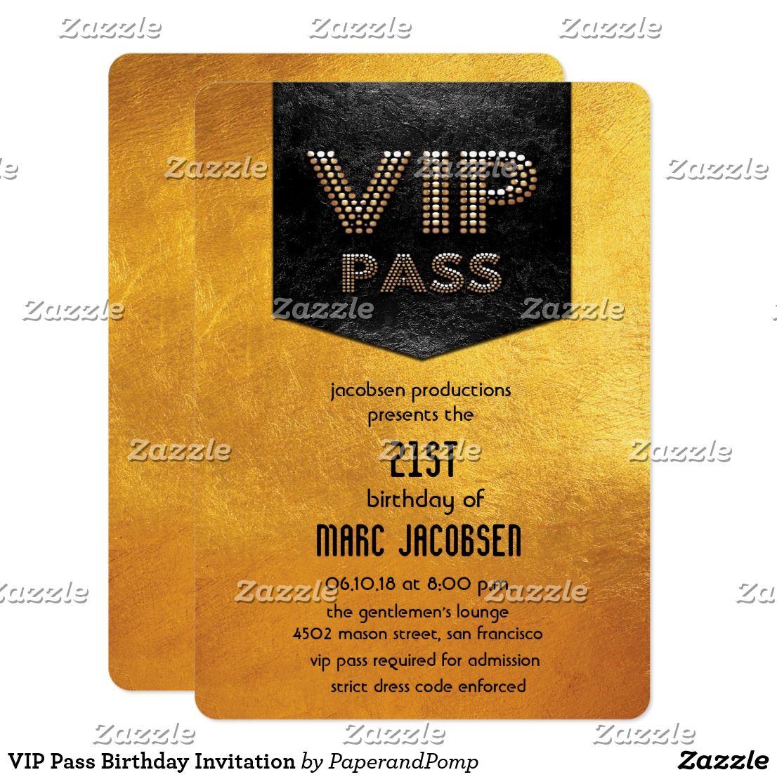 VIP Pass Birthday Invitation | Vip pass, Vip and Birthdays