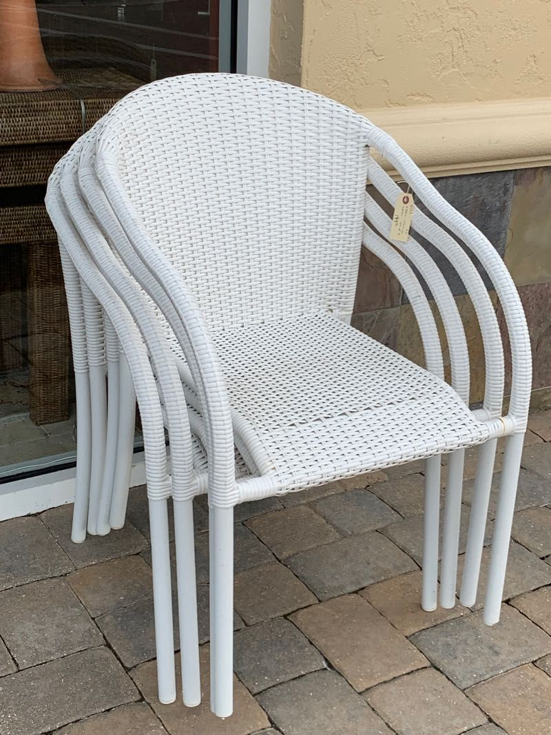Four White All Weather Wicker Patio Chairs By Ebel High
