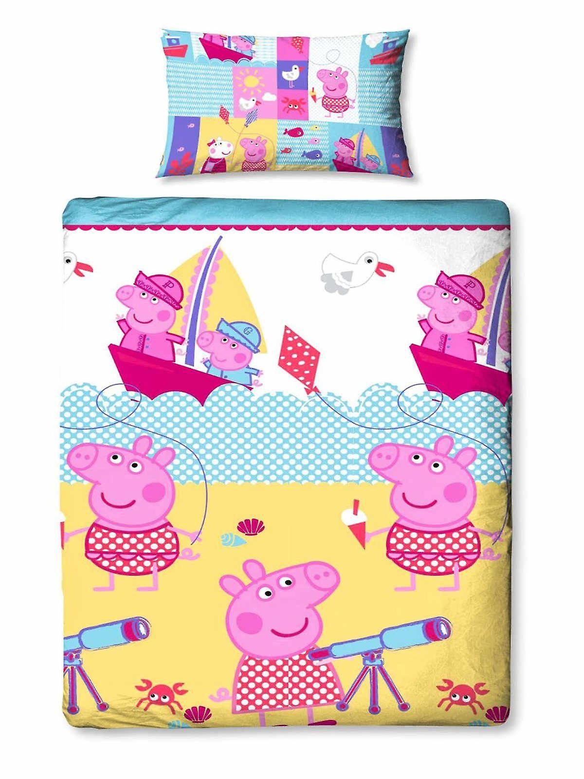 Peppa Pig Nautical Single Duvet Cover Set Polyester