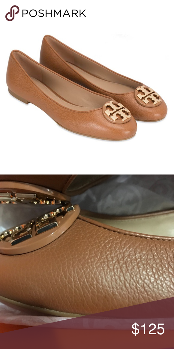 5e50beaffddbd Tory Burch Claire Royal Tan Ballerina Flats Size 9 authentic. new in box.  true to size. light scuff marks on left shoe. shown in picture. price is  firm Tory ...