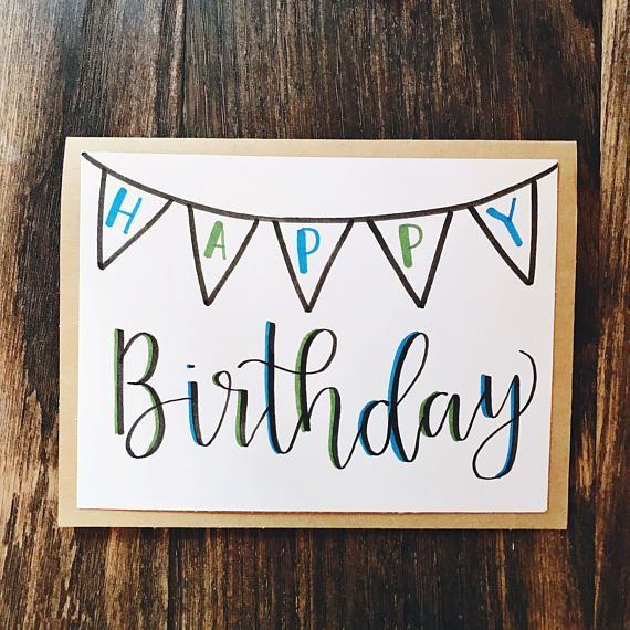 Happy Birthday Greeting Card - Handmade Calligraphy Birthday Card - Single Card