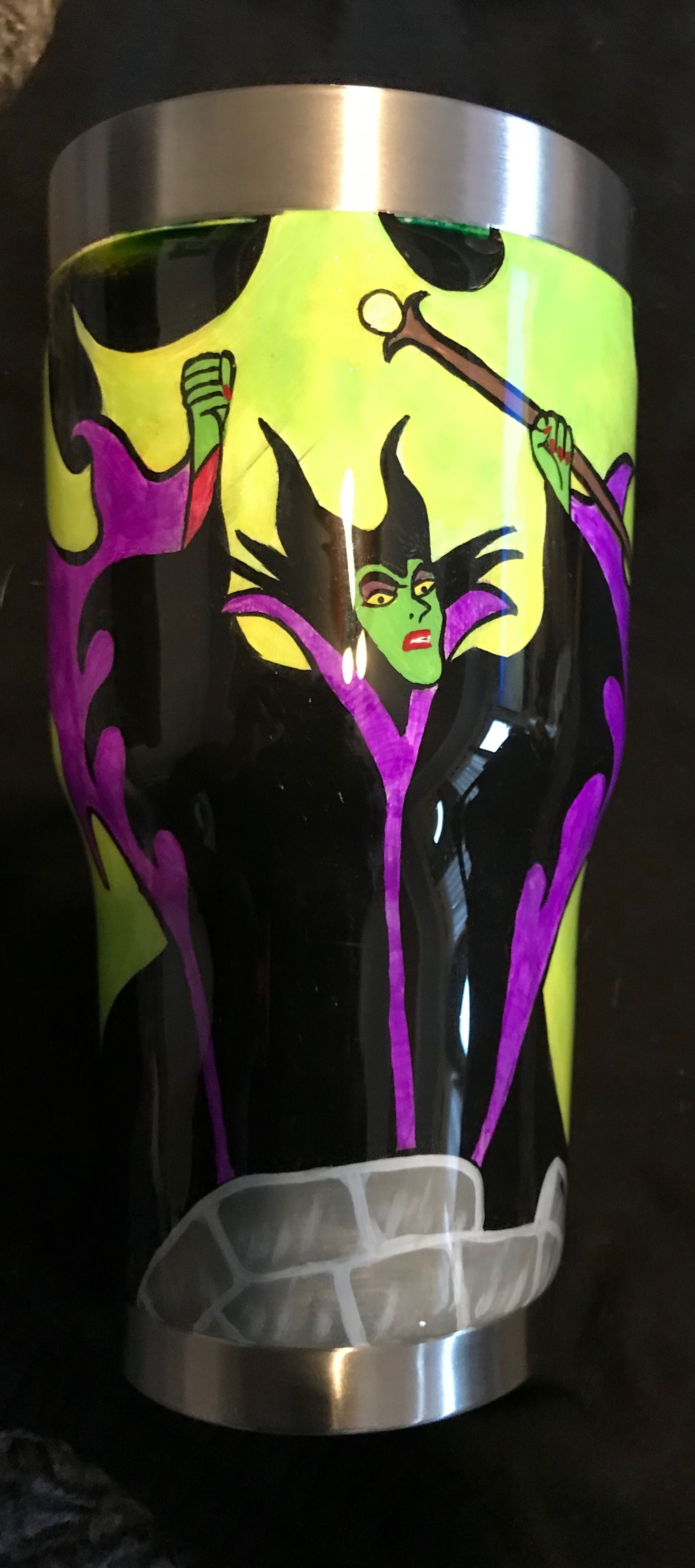 Maleficent Tumbler Cup Custom Painted Glow In The Dark