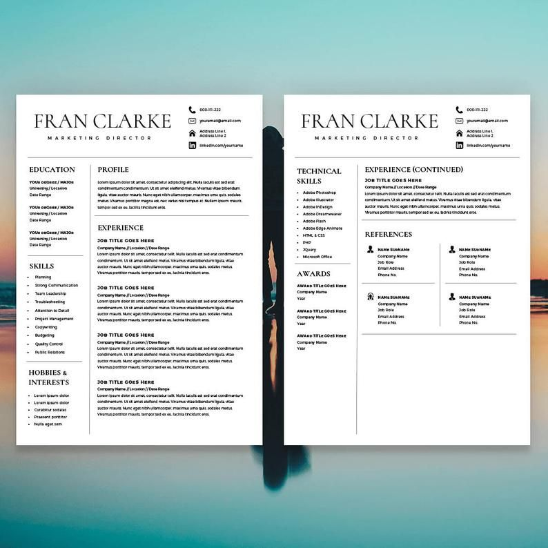 Creative Resume Template For Word 1 2 Page Resume Template Etsy Creative Resume Templates Resume Template Etsy Creative Resume