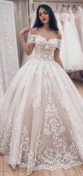 Gorgeous Off The Shoulder Lace Applique Ball Gown Train Long Wedding Dresses, WD1101 – Eliane