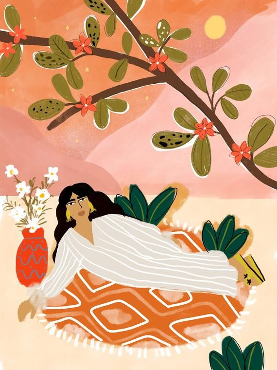 Laying Under the Full Moon A4 and A3 art print • Safari illustration • plant lady • Moroccan decor • Flower illustration