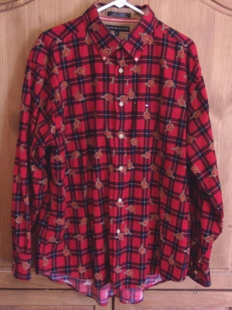 036a48688feb Tommy Hilfiger Light Corduroy Red Plaid Shirt Size XL Horse Saddle  #TommyHilfiger #ButtonFront