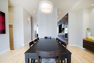 This Just gave me a fantastic idea..... to wall paper possibly a large piece of plywood or plexiglass... for a wall...its movable...its a divider, its a piece of art.....The Urban Executives - contemporary - dining room - calgary - Fifth Element Homes