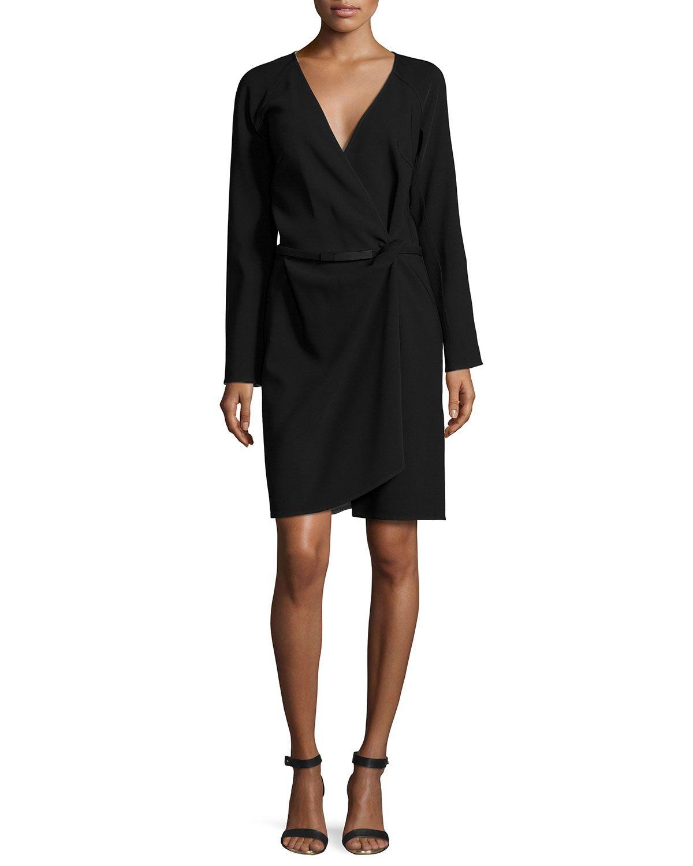Longsleeve wrap dress onyx womenus size blackwhite