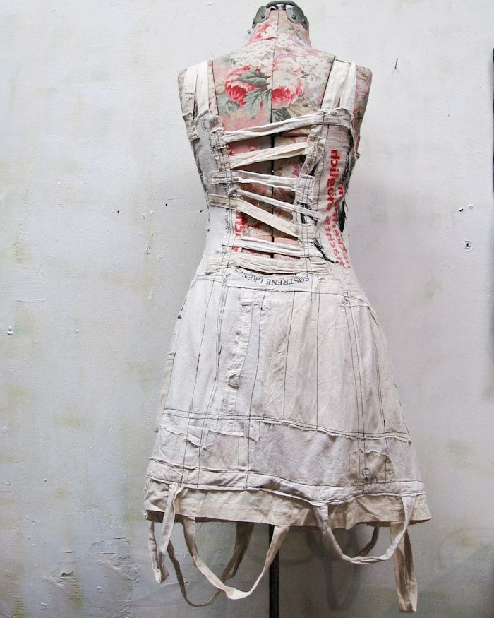 the goethe dress.. made entirely from vintage shopping bags. ..*