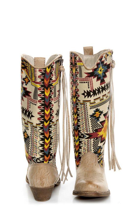 156cb130f25 Big Buddha Wayne Natural Multi Southwest Print Cowboy Boots   Yee ...