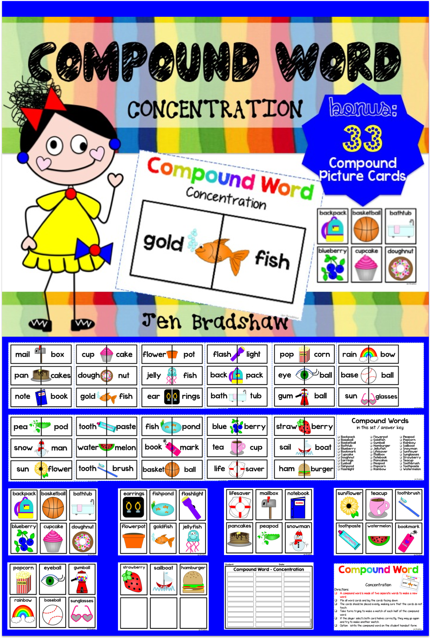 Compound Word Concentration Game Center Activity