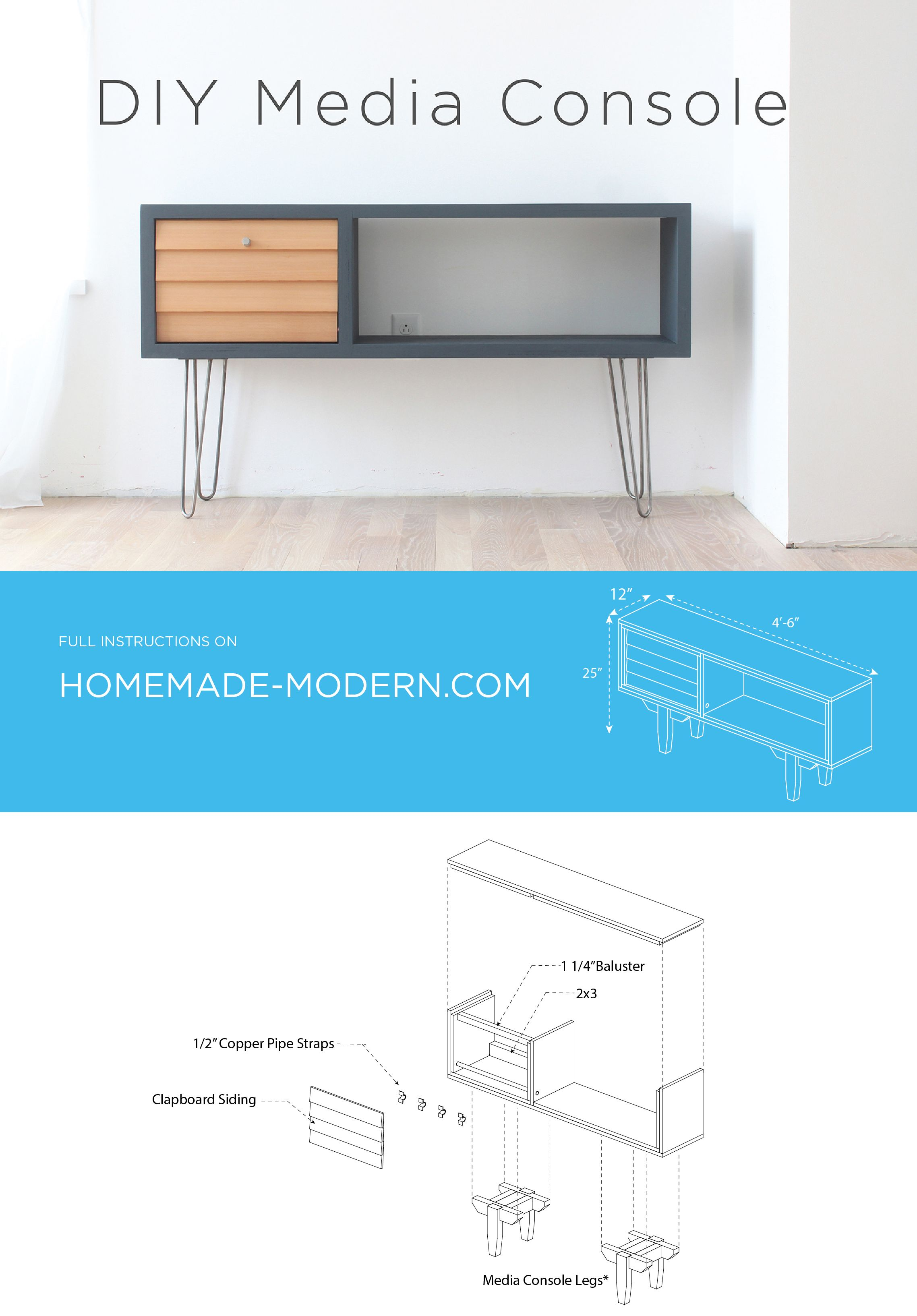 A Diy Media Console That Has A Mid Century Modern Style Another Diy Project By Ben Uyeda Homemade Modern Mid Century Modern Furniture Mid Century Modern Decor