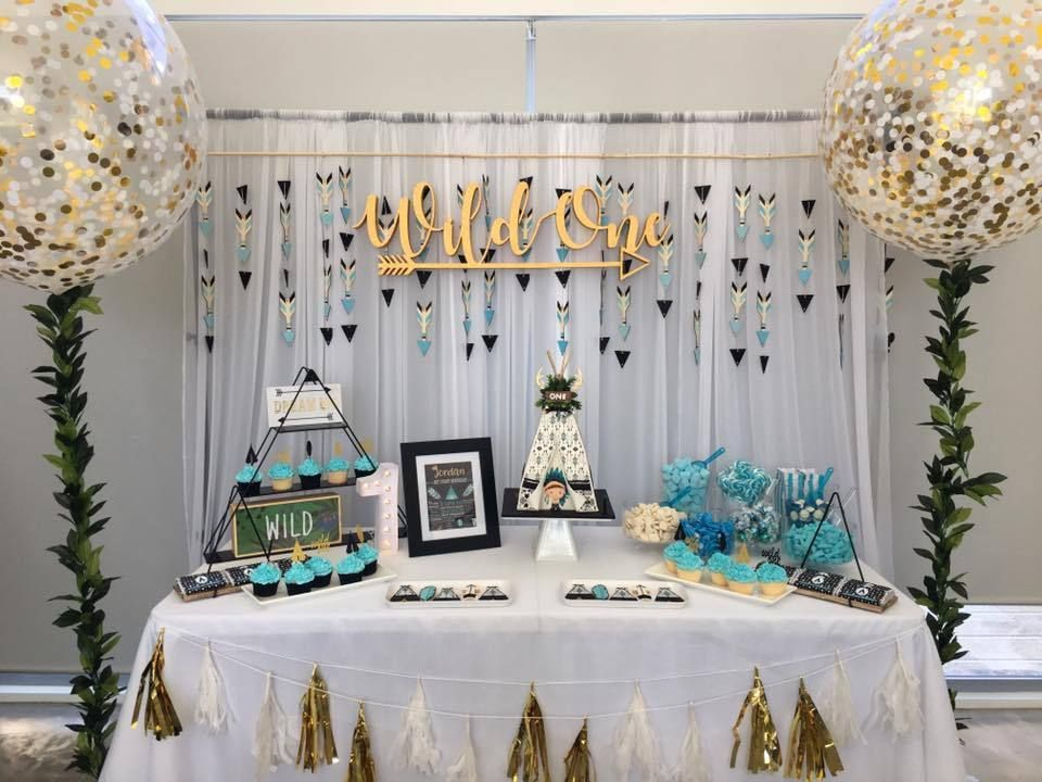Wild One Themed First Birthday Party Setup With Photos Cake Table Chocolate Wrappers Labels Decorations More