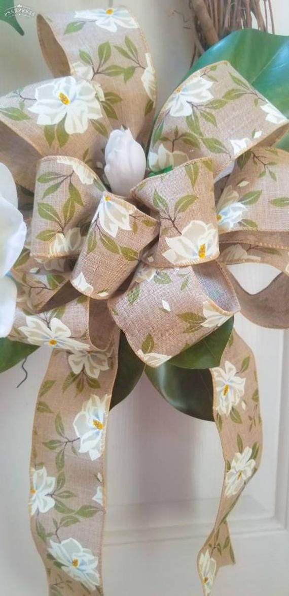 Photo of Magnolia wreath, grapevine wreath, everyday wreath, magnolia blossoms. Mother's Day, front door wreath, peasant wreath