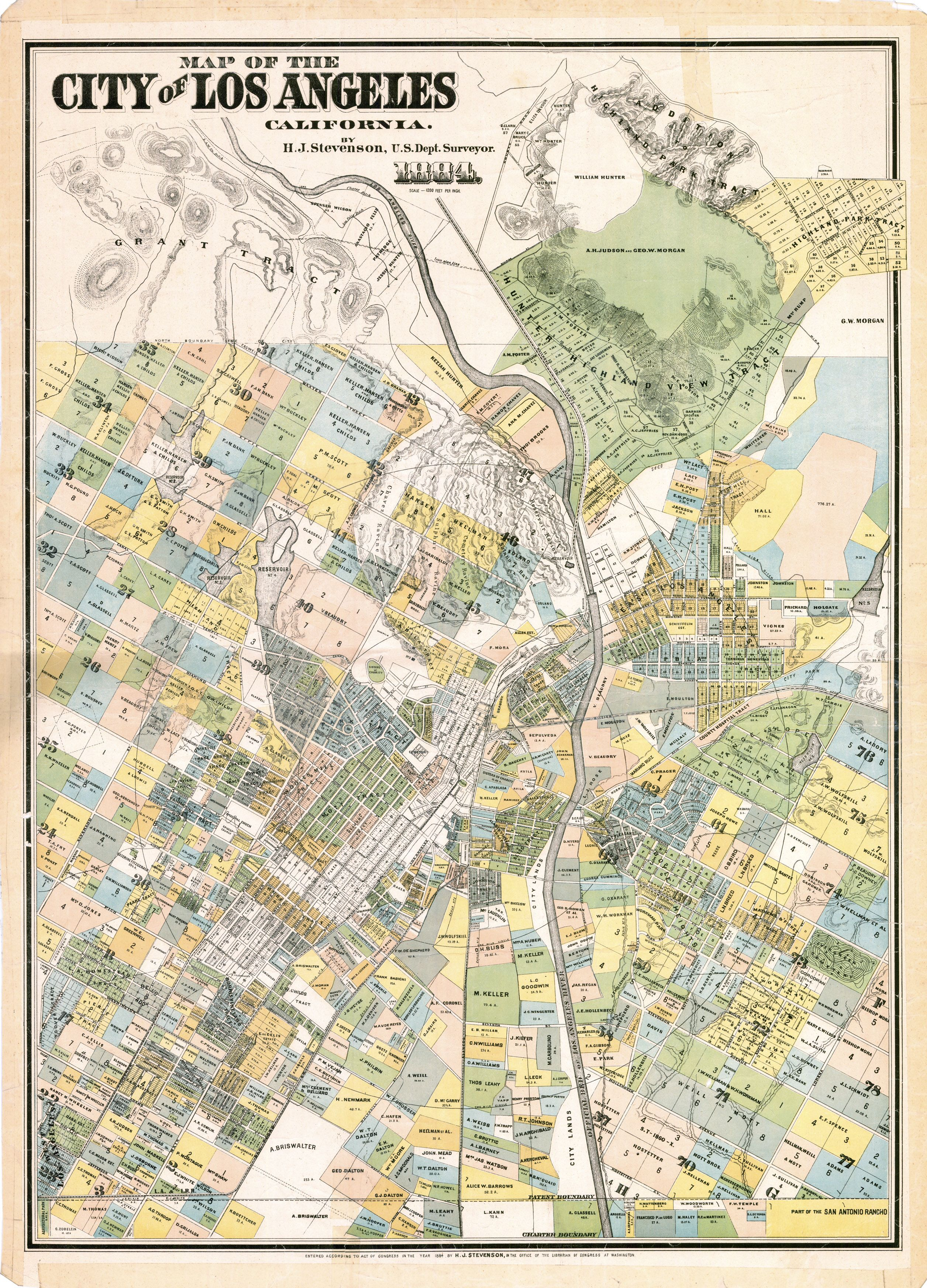 Map of the City of Los Angeles, California, 1884 | Maps | Map, Map Downtown Los Angeles Map on