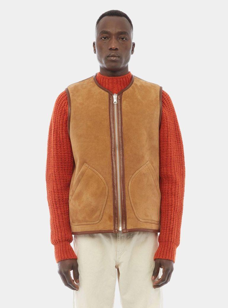 YMC Tan Reversible Sheepskin Vest OPUMO Sheepskin vest