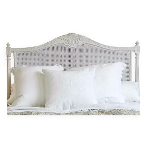 Louis Xvi French Country Natural White Painted Cane Headboard Queen
