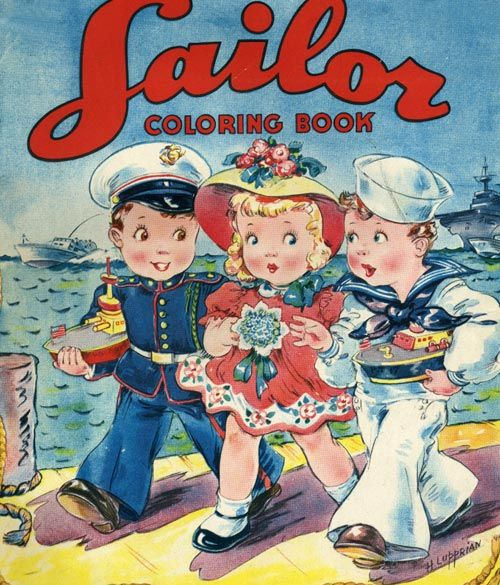 vintage coloring book sailor coloring book - Vintage Coloring Books