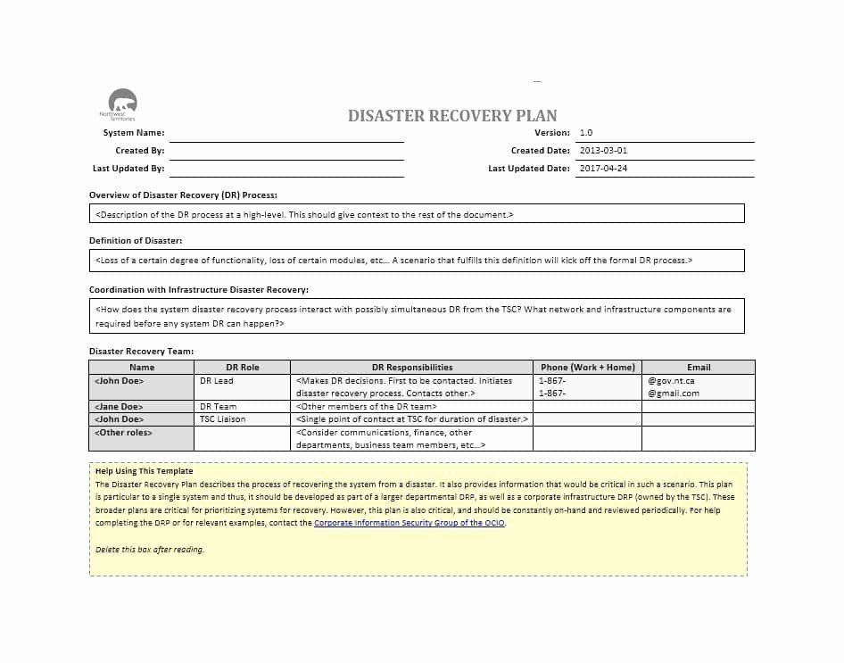 Disaster Recovery Plan Example Fresh 52 Effective Disaster Recovery Plan Templates Drp How To Plan Disaster Recovery Doctors Note Template