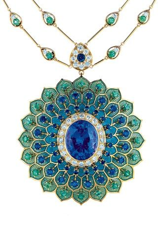 beautiful bvlgari necklace and pendant in sapphires emeralds and diamonds a peacock necklace