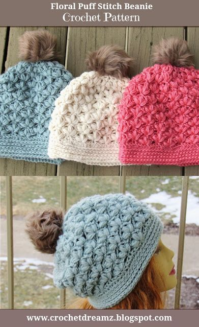 Winter Blossom Slouch Crochet Pattern, Options to Make a Regular Beanie or a Slouchy Included
