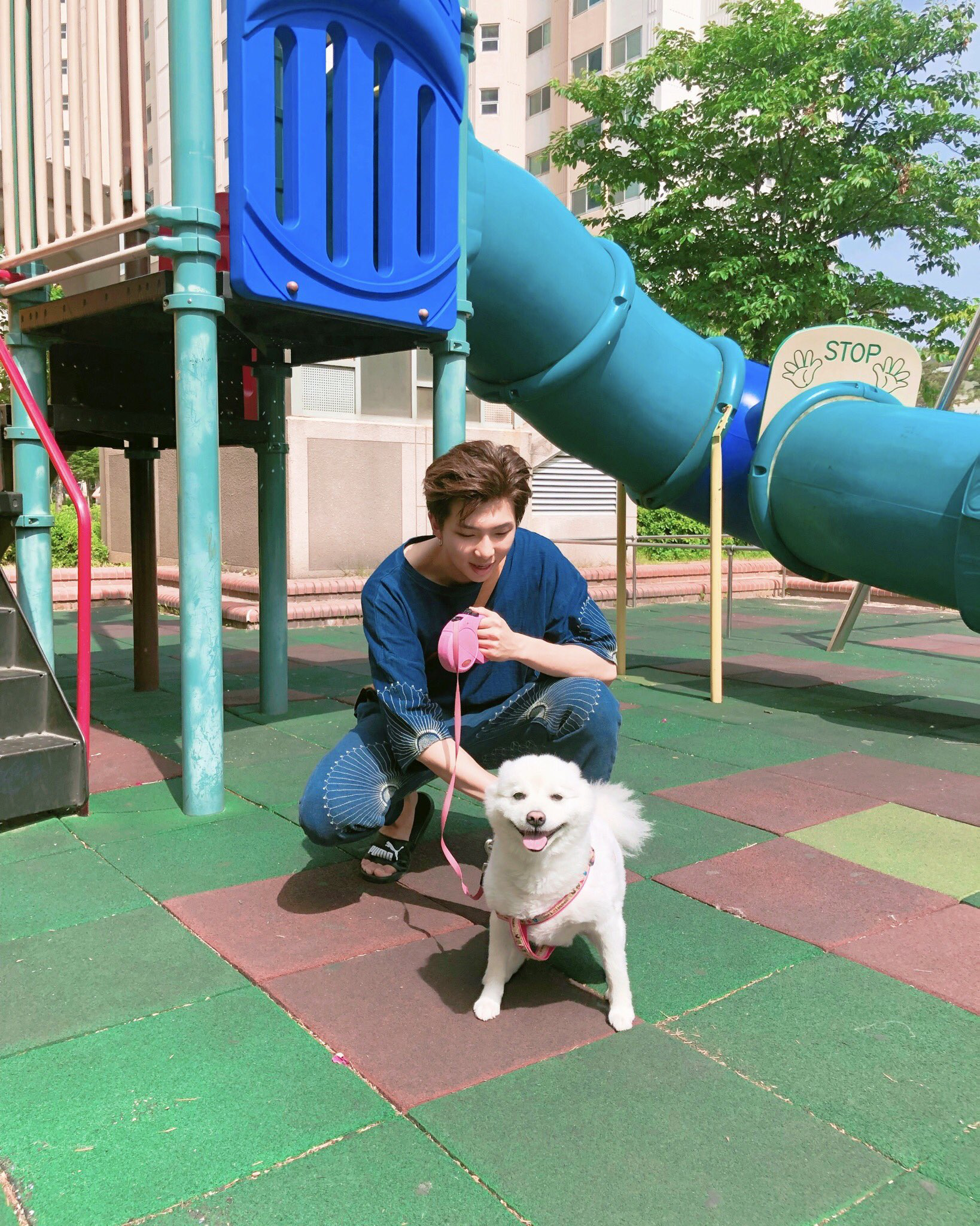 Namjoon and his dog. His dog is almost as beautiful as him