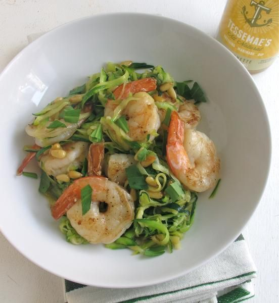 Zucchini Noodles with Shrimp, Tarragon, Pine Nuts | Tessemae's All Natural