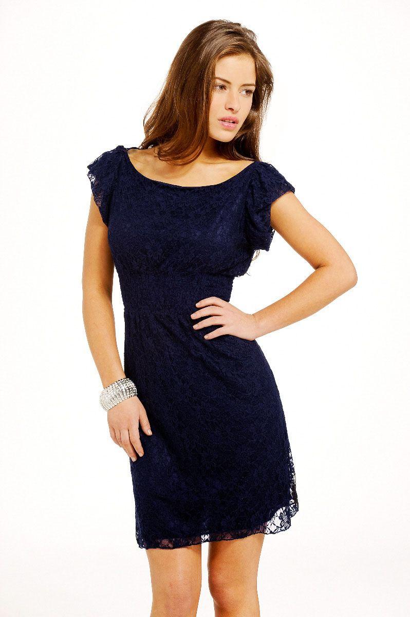 eb7241618c0a Madam Rage Navy cap sleeve lace Dress | Dresses | Dresses, Dress ...
